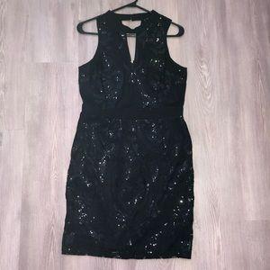NWOT Soieblu black form fitting sequin dress Large